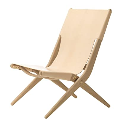 Beau Danish U0027Saxeu0027 Leather Folding Chair, Natural