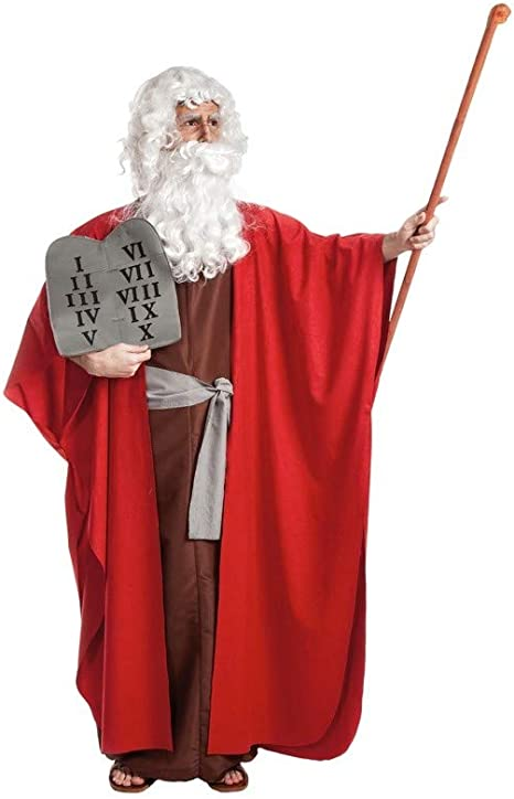 Disfraz de Moisés con tablas de mandamientos para hombre: Amazon ...