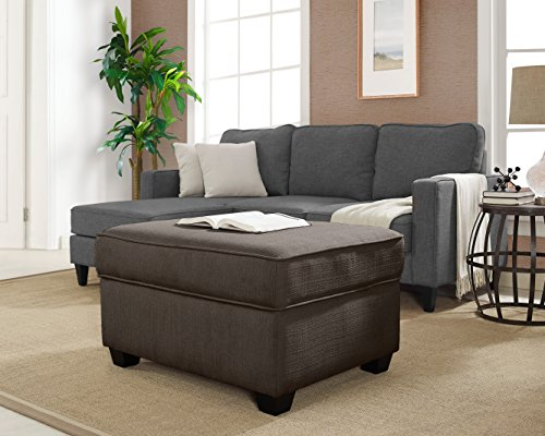 Serta Olin Ottoman with Storage, Parker (Ash Upholstered Table)
