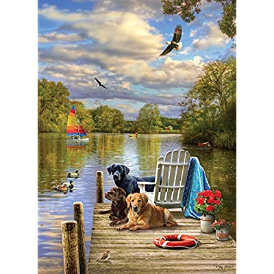 Cobble Hill Puzzles Dog Day Afternoon by Artist Greg Giordano 1000 Piece Landscapes & Scenery Jigsaw Puzzle: Toys & Games