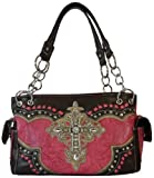 Womens Western Style Satchel Purse Tooled with Rhinestone Filigree Cross Handbag (Hot Pink), Bags Central