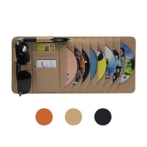 Visor Cd Dvd Holder - CD Sun Visor Organizer for Car Detachable Portable Multi-Function PU Lambskin with 10 CD Slots + 4 Credit Cards Pockets + 1 Sunglasses Holder + 1 Pen Holder (Yellow)