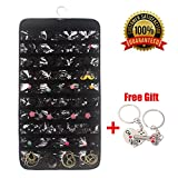 XeaGiasy Hanging Jewelry Organizer For Women, Accessories Organizer Closet Wall Jewelry Holder With 80 Pockets, 2 Sides (Black)