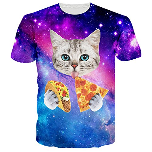 RAISEVERN 3d Galaxy Space Cat Printed Hip Hop Stylish Jersey T-Shirts, Medium, Pizza Cat