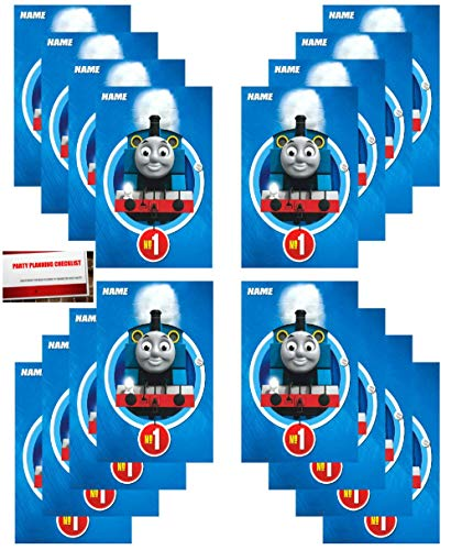 (16 Pack Thomas The Train All Aboard Party Plastic Loot Treat Candy Favor Bags (Plus Party Planning Checklist by Mikes Super)