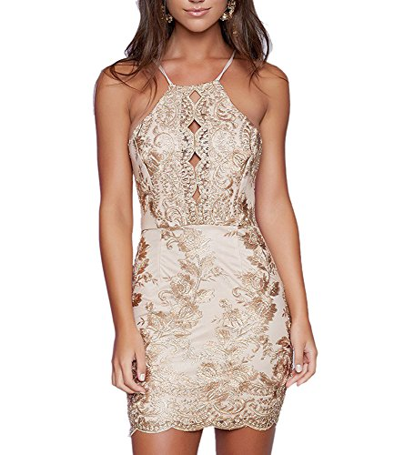 Khaleesi Women Fashion Halter Backless Embroidery Empire Party Mini Dresses Gold M