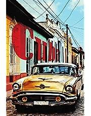 NWFS Cuba gele oldtimer auto metalen bord bord metalen plaat metaal tin teken gewelfd gelakt 20 x 30 cm