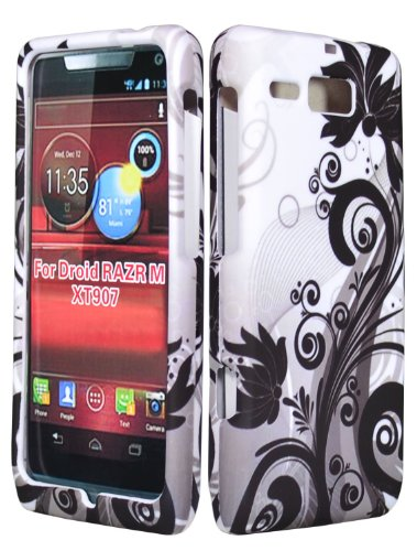 bastex-snap-on-one-piece-case-for-motorola-droid-razr-m-4g-lte-xt907-black-white-vines-flowers-hard-