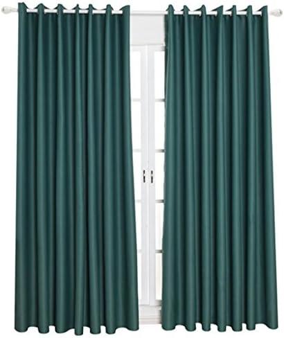 窓カーテン ウィンドウ ドレープ ブロックアウト 屋内 家具保護 全5色3サイズ - グリーン, 140x245cm