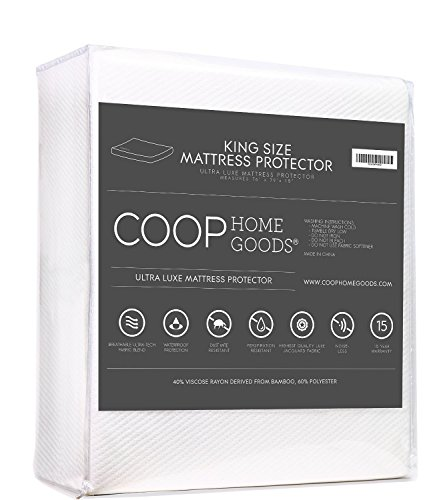 COOP HOME GOODS - Lulltra Waterproof Mattress Pad Protector Cover - Waterproof Hypoallergenic Topper with Cooling Polyester & Rayon - King Size - White - 15 Year Warranty
