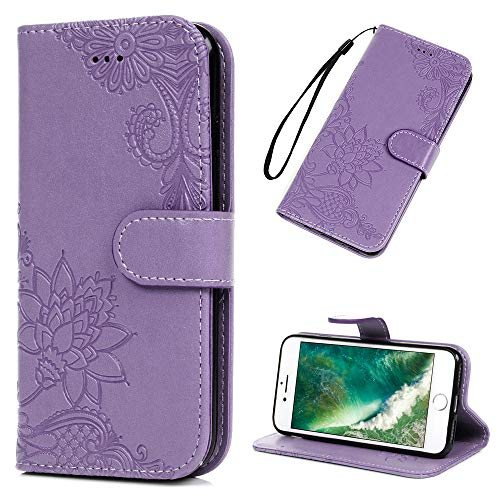 MOLLYCOOCLE iPhone 7 Case, iPhone 8 Case (Not Plus), Wallet Case Purple Lotus PU Leather Magnetic Flip Folio Bumper Credit Card Slots Kickstand Protective Cover for iPhone 7/8 4.7 inch