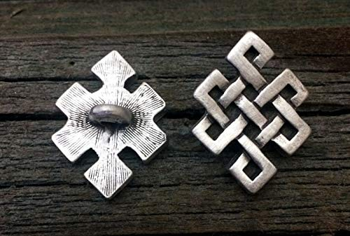 2 Celtic Endless Knot Pewter Shank Buttons 7/8 Inch (22 mm)