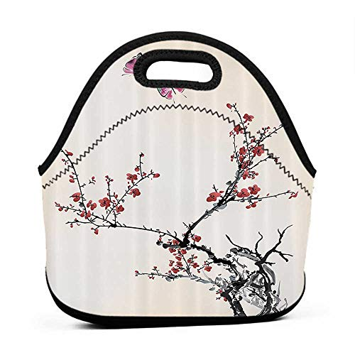 Rugged Lunchbox Watercolor Flowers Decor Collection,Spring Cherry Branches Flowers and Butterflies Classic Print,Paprika Pink Ivory,fabric lunch bag for women