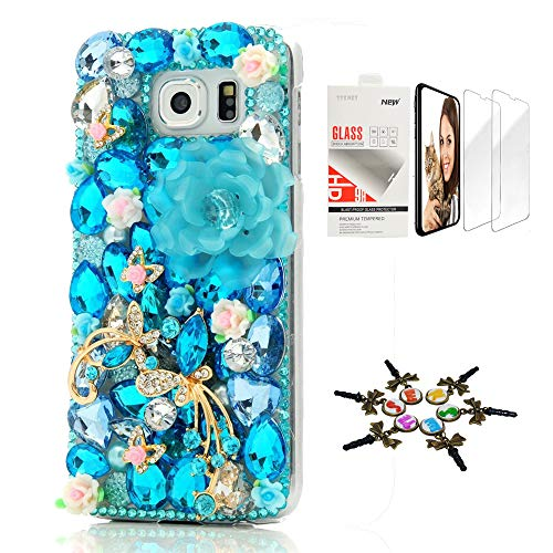 STENES Galaxy S9 Case - STYLISH - 3D Handmade [Sparkle Series] Bling Big Flowers Butterfly Flowers Design Cover Compatible Samsung Galaxy S9 with Screen Protector [2 Pack] - Blue