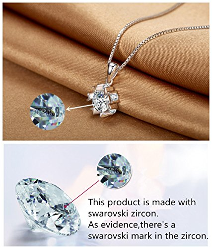 Snowflake Pendant Necklace Swarovski Zircon Jewelry for Women Girls Ideal Christmas Gifts Birthday Gifts for Daughter Granddaughter Girlfriend Mother Wife Best Friend Gifts (Necklace and Studs set) by sassu fine (Image #5)