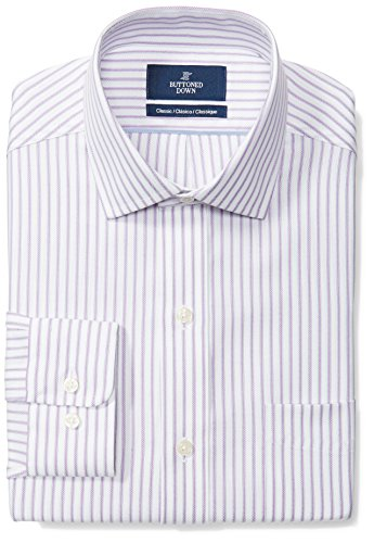 BUTTONED DOWN Men's Classic Fit Spread-Collar Pattern Non-Iron Dress Shirt, Purple/White Stripe, 17