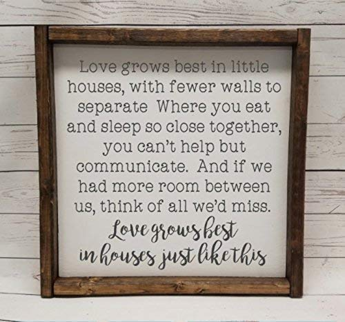 (Love grows best in little houses, full quote Sign, Farmhouse style, chunky framed sign. scrabble tile, handpainted sign)