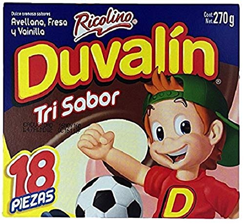 (Duvalin Trisabor Hazelnut, Strawberry, Vanilla (18 pcs) Authentic Mexican Candy with Free Chocolate Kinder Bar Included )