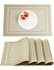 Yanyi Placemats Set of 4, Heat Insulation & Stain Resistant Washable Place Mats, 17.7 x 11.8 inches Durable Non-Slip Kitchen Table Mats Placemat for Dining Table