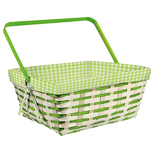 Egg-stra Special Easter Green Gingham Fabric Lined Picnic Basket, Bamboo, 12