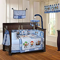 BabyFad Pirates 10 Piece Baby Boy's Crib Bedding Set