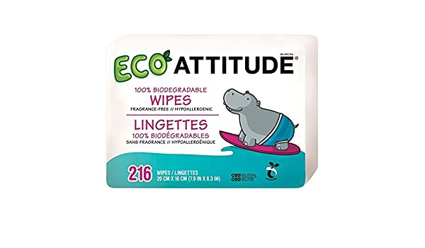 Attitude 100% Biodegradables Toallitas Húmedas Para Bebés (72 Por Paquete X 3) (Paquete de 2): Amazon.es: Hogar