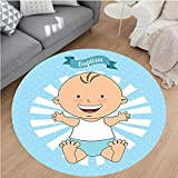 Nalahome Modern Flannel Microfiber Non-Slip Machine Washable Round Area Rug-Baptism Design Happy Boy Christening Striped Dotted Background Christian Religion Theme area rugs Home Decor-Round 71''