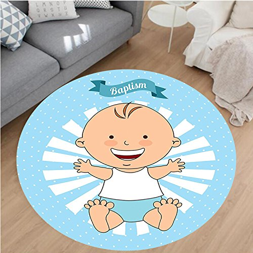 Nalahome Modern Flannel Microfiber Non-Slip Machine Washable Round Area Rug-Baptism Design Happy Boy Christening Striped Dotted Background Christian Religion Theme area rugs Home Decor-Round 79'' by Nalahome