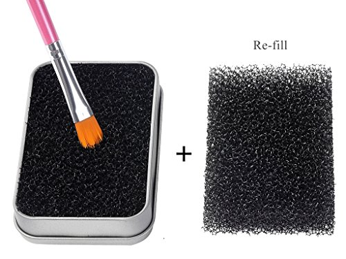 FFLEMON Shadow Brushes Color Removal Sponge - Remove Shadow/Blush Color From Brushes,Easily Switch to next Color.One More Sponge for Re-fill,Makeup Brush Cleaner Kit,Brush Quickly Cleaner,Compact Size