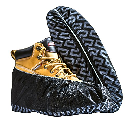 Black Industrial Disposable Shoe Covers for Men and Women Premium Thickness Workman Booties Extra Large 100 Pack supplier