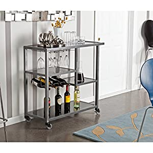 Zephs Rolling Bar Cart – Locking Castor Wheels – Gunmetal Finish w/Black Tempered Glass