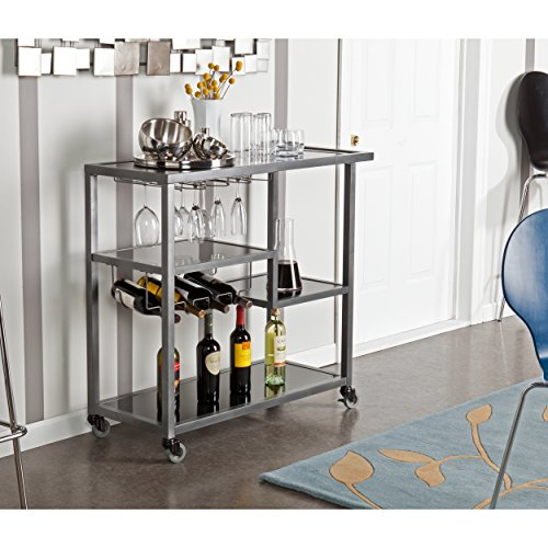 Glass Top Serving Cart - Holly & Martin Zephs Bar Cart, Gunmetal Gray Finish Black Tempered Glass