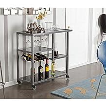 Holly & Martin Zephs Bar Cart, Gunmetal Gray Finish with Black Tempered Glass
