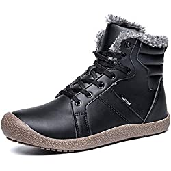 L-RUN Winter Warm Boots for Men Faux Fur Warm Snow Sneaker Outdoor Black 10 M US