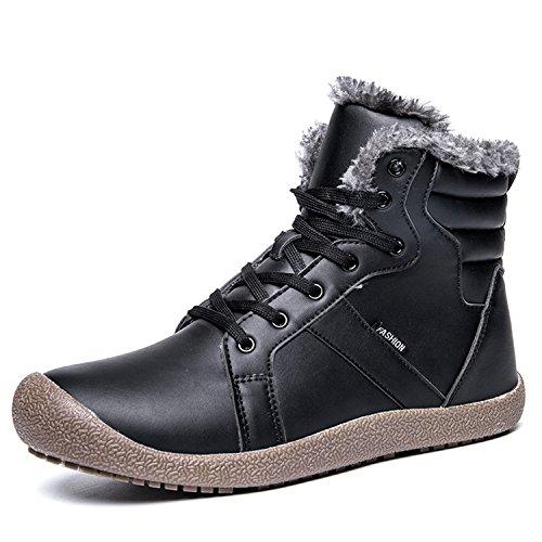 L-RUN Womens Winter-Schnee-Aufladungen wasserdicht im Freien Ankle Booties Bequeme Pelz_schwarz