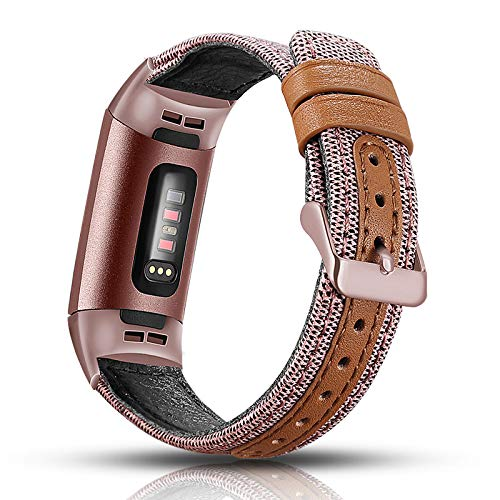 Fabric Gold Leather - Aottom Compatible for Fitbit Charge 3 Band Women Canvas Fabric Leather Band Smart Watch Replacement Band Bracelet Wristbands for Fitbit Charge 3 / Charge 3 SE Fitness Tracker Accessories, Rose Gold