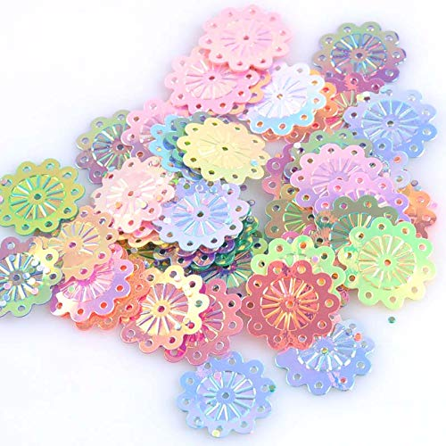 Loose Sequins - 23g 150pcs Mixed Round Flower Spangle Loose Sequin Multicolor Sewing Craft Child Diy Accessory 18mm Cp1417 - Slyness Wiliness Craftiness Guile Workmanship ()