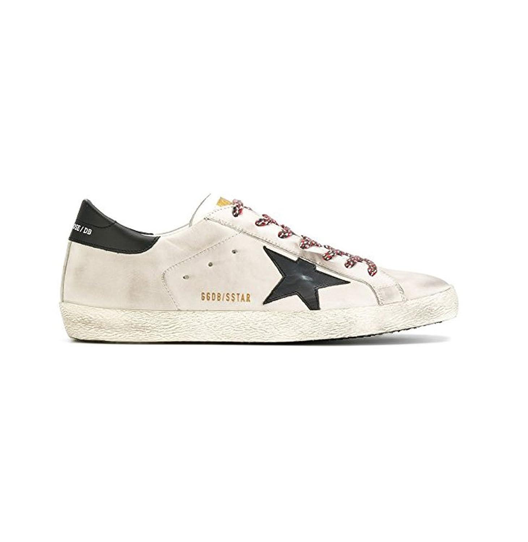 (ゴールデングース)GOLDEN GOOSE メンズSuperstar iconic off-white and black calf leather Low Top Sneakers スニーカー(G31MS590 C81)[海外直送品] [並行輸入品] B075879XHN