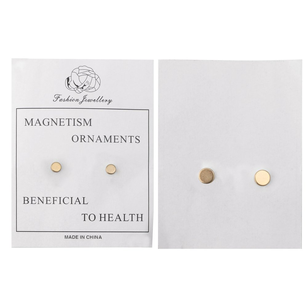 OHTOP 1Pair Weight Loss Healthy Stimulating Acupoints Stud Magnetic Therapy Earrings(Gold,without hole) by OHTOP (Image #3)