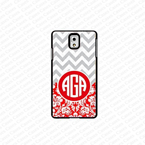 krezy case monogram Galaxy Note 4 case- monogram Personalized Gray chevron with red damask samsung Galaxy Note...