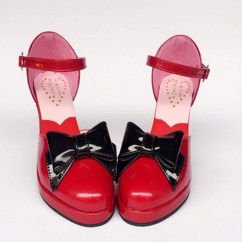 PINGXIANNV Prinzessin Süße Schuhelolita Damenschuhe Große Größe Wein Rot Hell Leder High Heels