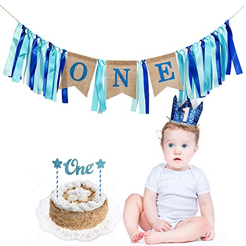 TiiMi Part 1 st Birthday Banner Cake Topper Crown Decorations Set for Baby Boy Garland Ribbon Decoration Baby Shower Bunting Burlap Highchair Celebration Tool -