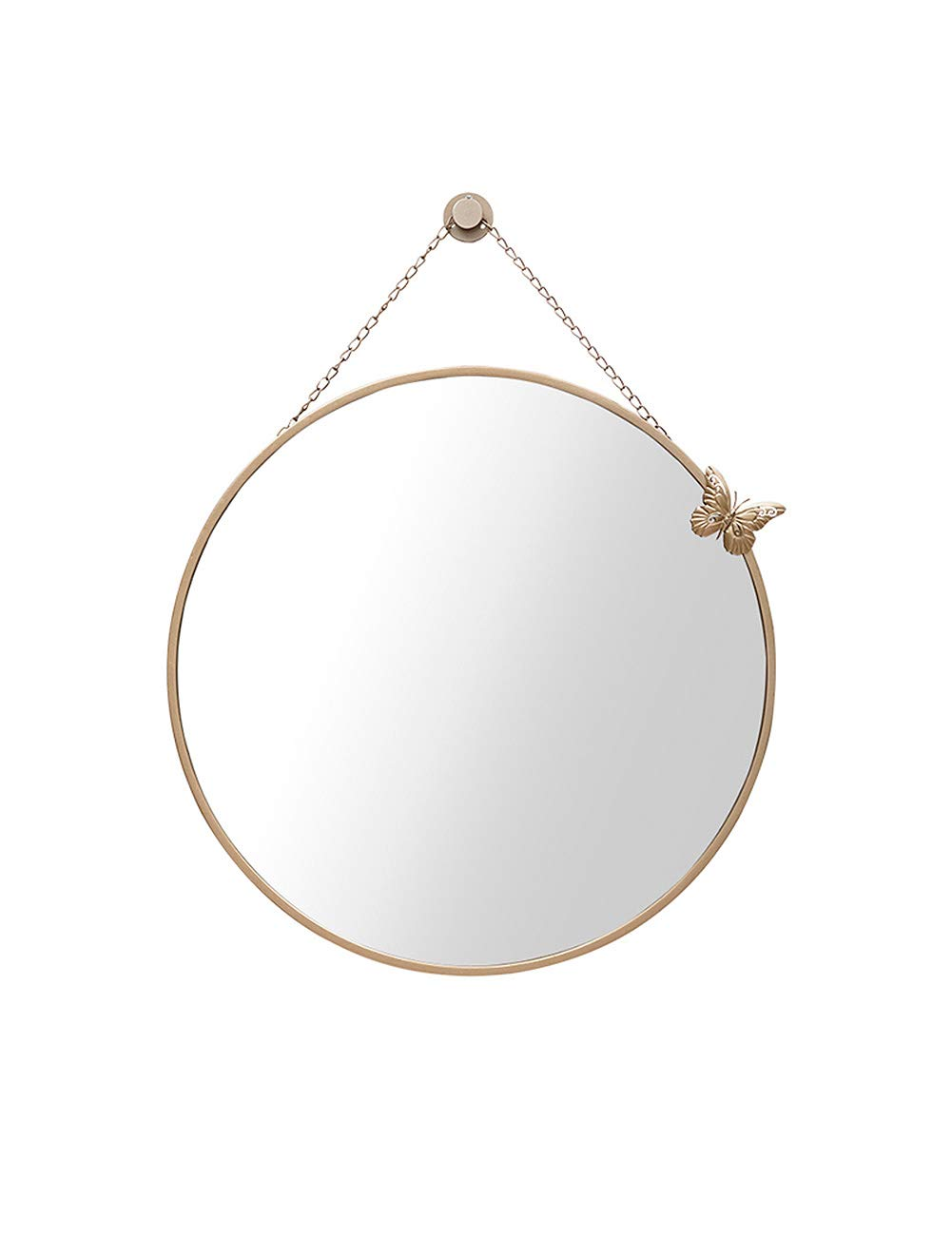Beige 23.6 IN ZLoader Round Mirror Bathroom Mirror Simple Circular Dressing Mirror Smooth Frame Chain Hanging Mirror (color   Beige 23.6 in)
