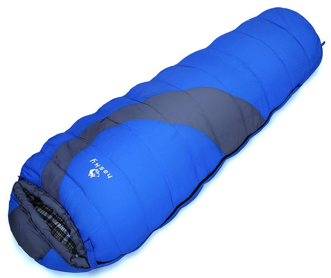 Kamiwwso Schlafsäcke halten warmes Feld tragbare Mummy-Gegenseitiger Kampf mit Kappe (Farbe   Blau)