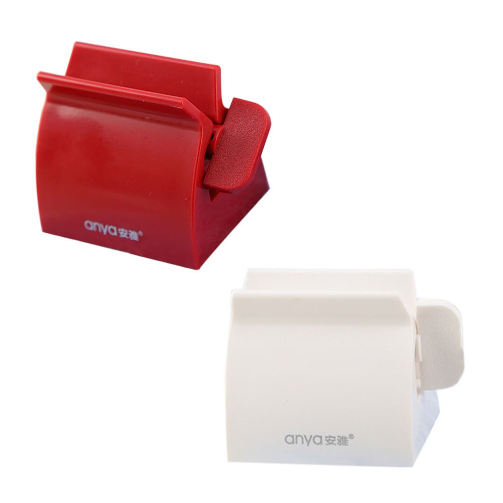 Healifty 2 PZ Rolling Tube Dentifricio Spremiagrumi Dentifricio Sedile Holder Stand Easy Dispenser Accessori Bagno (Rosso e Bianco)