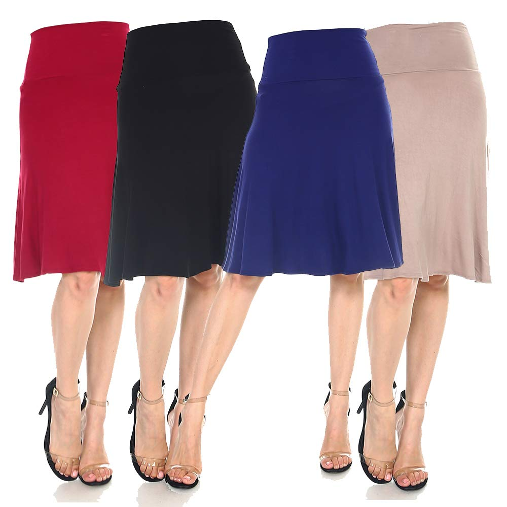 Isaac Liev Women's 4-Pack Fold Over Waist A-Line Skirt (Large, Black, Navy, Burgundy & Mocha)