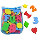 44 Piece Set Foam Bath Letters and Numbers With Bonus Shapes. Best Educational Bath Toys With Mesh Bath Toy Organizer Included To Prevent Mold And For Tidy Storage. Non Toxic Foam Letters