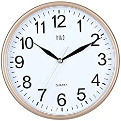 hito Silent Wall Clock Non Ticking 10 inch Excellent Accurate Sweep Movement Glass Cover, Modern Decorative for Kitchen, Living Room, Bathroom, Bedroom, Office, Classroom (Rose Gold)
