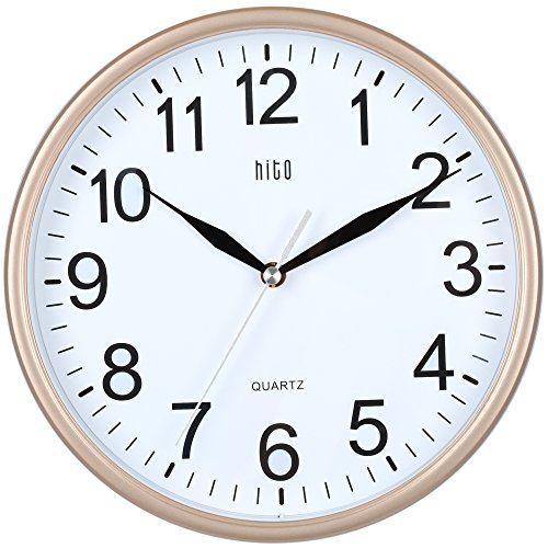 hito Silent Wall Clock Non Ticking 10 inch Excellent Accurate Sweep Movement Glass Cover, Modern Decorative for Kitchen, Living Room, Bathroom, Bedroom, Office, Classroom (Rose Gold) (Clock White Gold White)