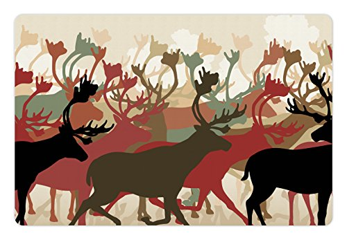 (Lunarable Antler Pet Mat for Food and Water, Reindeer Caribou Herd Migrating Colorful Silhouettes Wildlife Nature Theme Print, Rectangle Non-Slip Rubber Mat for Dogs and Cats, Multicolor)